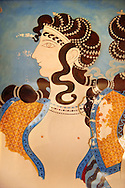 Arthur Evans reconstruction of Dancing girl fresco from the Queen's megaron at Knossos. Knossos Minoan archaeological site, Crete ..<br /> <br /> Visit our GREEK HISTORIC PLACES PHOTO COLLECTIONS for more photos to download or buy as wall art prints https://funkystock.photoshelter.com/gallery-collection/Pictures-Images-of-Greece-Photos-of-Greek-Historic-Landmark-Sites/C0000w6e8OkknEb8 <br /> .<br /> Visit our MINOAN ART PHOTO COLLECTIONS for more photos to download  as wall art prints https://funkystock.photoshelter.com/gallery-collection/Ancient-Minoans-Art-Artefacts-Antiquities-Historic-Places-Pictures-Images-of/C0000ricT2SU_M9w