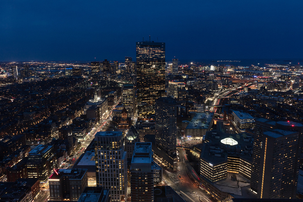 A sweeping view of the Boston Skyline seen from the Prudential Tower.