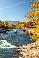 """""""Truckee River in Autumn 36"""" - Photograph of the Truckee River in the fall, shot in Downtown Reno, Nevada."""