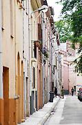 Village street. Rivesaltes town, Roussillon, France