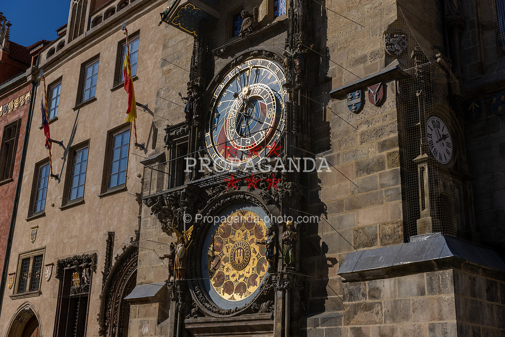 PRAGUE, CZECH REPUBLIC - Friday, October 8, 2021: The Prague Astronomical Clock or Prague Orlo in the Old Town Square, Prague. The clock was first installed in 1410, making it the third-oldest astronomical clock in the world and the oldest clock still in operation (Pic by David Rawcliffe/Propaganda)