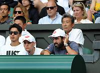 Tennis - 2019 Wimbledon Championships - Week Two, Wednesday (Day Nine)<br /> <br /> Men's Singles, Quarter-Final: Kei Nishikori (JPN) v Roger Federer (SUI)<br /> <br /> Kei Nishikori coach on Centre Court.<br /> <br /> COLORSPORT/ANDREW COWIE