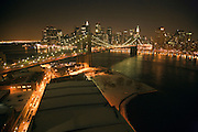 panoramic view of Brooklyn bridge with the Manhattan skyline in the background