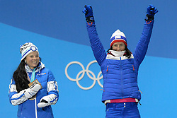 February 15, 2018 - Pyeongchang, South Korea - MARIT BJORGEN of Norway celebrates receiving the bronze medal for the Ladies' 10km Free cross-country event In the PyeongChang Olympic games. (Credit Image: © Christopher Levy via ZUMA Wire)