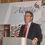 Rupert Bates presenter of the 7th annual Churchill Awards honour achievements of the Over 65's at Claridge's Hotel on 10 March 2019, London, UK.
