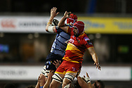Cory Hill, the Dragons captain in a line out with Seb Davies of Cardiff Blues. . Guinness Pro14 rugby match, Cardiff Blues v Dragons at the Cardiff Arms Park in Cardiff, South Wales on Friday 6th October 2017.<br /> pic by Andrew Orchard, Andrew Orchard sports photography.