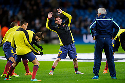 Barcelona Midfielder Lionel Messi (ARG) warms up before the match - Photo mandatory by-line: Rogan Thomson/JMP - Tel: 07966 386802 - 18/02/2014 - SPORT - FOOTBALL - Etihad Stadium, Manchester - Manchester City v Barcelona - UEFA Champions League, Round of 16, First leg.