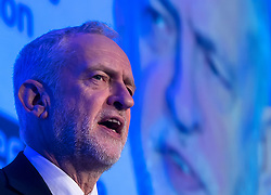 © Licensed to London News Pictures. 20/02/2018. London, UK. Labour party leader JEREMY CORBYN MP delivers a speech at the EEF National Manufacturing Conference 2018 held at the QEII conference centre in London. Photo credit: Ben Cawthra/LNP