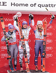 18.03.2018, Aare, SWE, FIS Weltcup Ski Alpin, Finale, Aare, Riesenslalom Gesamtweltcup, Damen, Siegerehrung, im Bild v.l. Tessa Worley (FRA, Riesenslalom Weltcup 2. Platz), Viktoria Rebensburg (GER, Riesenslalom Weltcup 1. Platz und Gesamt Weltcup 3. Platz), Mikaela Shiffrin (USA, Riesenslalom Weltcup 3. Platz, Slalom Weltcup und Gesamt Weltcup 1. Platz) // f.l. Giant Slalom World Cup second placed Tessa Worley of France Giant Slalom World Cup winner and Overall World Cup third placed Viktoria Rebensburg of Germany Overall World Cup winner Slalom World Cup winner and Giant Slalom World Cup third placed Mikaela Shiffrin of the USA during the winner Ceremony for the ladie's Giant Slalom Worlcup of FIS Ski Alpine World Cup finals in Aare, Sweden on 2018/03/18. EXPA Pictures © 2018, PhotoCredit: EXPA/ Johann Groder