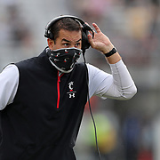 ORLANDO, FL - NOVEMBER 21:  Cincinnati Bearcats head coach Luke Fickell argues a call against the Central Florida Knights at Bounce House-FBC Mortgage Field on November 21, 2020 in Orlando, Florida. (Photo by Alex Menendez/Getty Images) *** Local Caption *** Luke Fickell