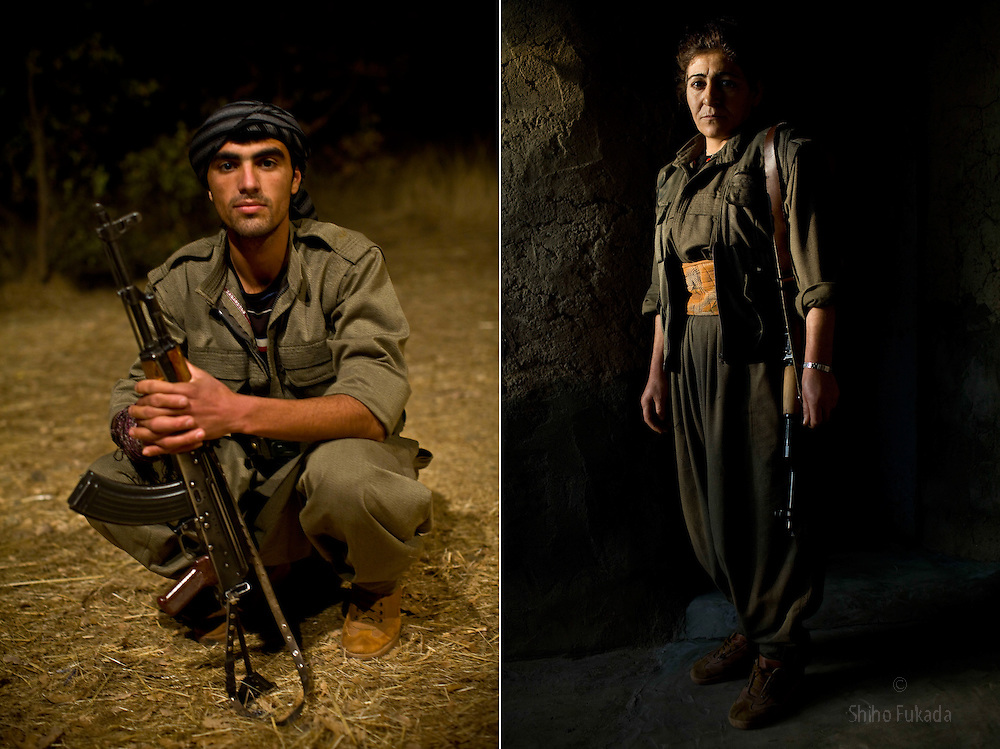 LEFT: PKK guerilla fighter Diler Hewram, 24. He joined PKK in 2007.<br /> RIGHT: PKK guerilla Zilan Mardin, 35, from Mardin in Turkeyin Qandil Mountains, Iraqi Kurdistan.