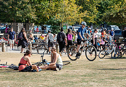"© Licensed to London News Pictures. 20/09/2020. London, UK. Cyclists enjoy a rest in the fine weather today as Police patrol Richmond Park in South West London on the first weekend of the ""Rule of Six"". Gatherings of over six people have been banned by the Government after a spike in coronavirus cases. Health Minister Matt Hancock has announced that people with coronavirus who don't self-isolate could be fined up to £10,000 and Prime Minister Boris Johnson has said that the UK was heading for a second wave.  Photo credit: Alex Lentati/LNP"