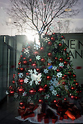 Merging of artificial Christmas tree and real, natural tree in the background, seen through a corporate foyer window.