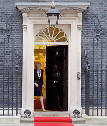 Theresa May <br /> Prime Minister <br /> welcomes His Majesty King Abdullah II of Jordan to Downing Street. 10 Downing Street, London, Great Britain <br /> 1st March 2017 <br /> <br /> Theresa May <br /> <br /> <br /> Photograph by Elliott Franks <br /> Image licensed to Elliott Franks Photography Services