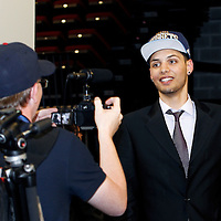 28 June 2012: French player Evan Fournier, picked up by the Denver Nuggets, answers journalists during the 2012 NBA Draft, at the Prudential Center, Newark, New Jersey.