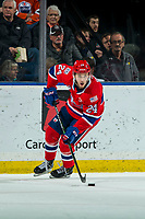 KELOWNA, BC - JANUARY 31: Ty Smith #24 of the Spokane Chiefs skates with the puck against the Kelowna Rockets at Prospera Place on January 31, 2020 in Kelowna, Canada. Smith was selected in the first round of the 2018 NHL entry draft by the New Jersey Devils.  (Photo by Marissa Baecker/Shoot the Breeze)