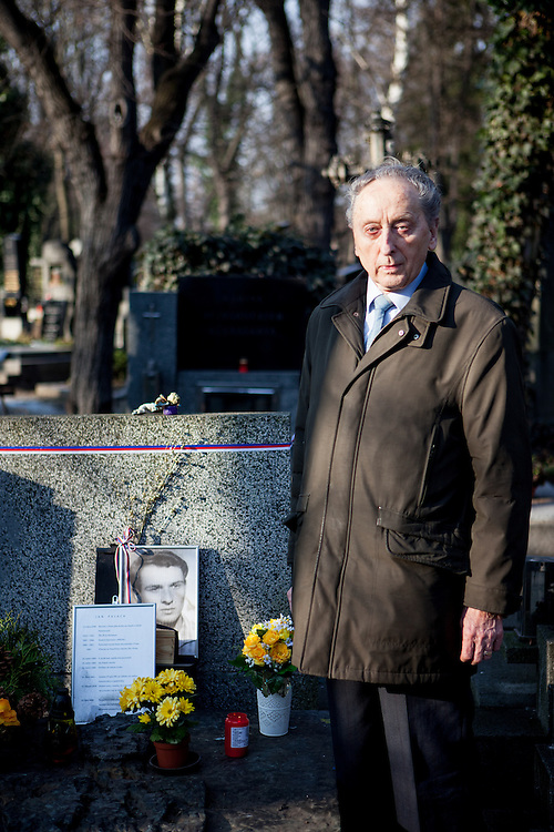 "Jakub Trojan - who was the former dean of the Protestant Theological Faculty of Charles University in Prague - at the grave of Jan Palach. Trojan was the priest who buried student Jan Palach in 1969 who committed self-immolation as a political protest against the end of the Prague Spring resulting from the 1968 invasion of Czechoslovakia by the Warsaw Pact armies. ""In this cynical century in which we are often scared by others and others are scared by us, in a century in which we are often startled at our own small-mindedness, he made us ask a question that can make great people of us: What did I do for others, what is my heart like, what is my aim, and what is the highest priority in my life?""<br /> <br /> Speech of Pastor Jakub S. Trojan at Jan Palach's grave, 25 January 1969"