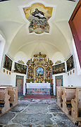 Interior panorama of St. Johann in Ranui church, Val di Funes (Villnöss valley), Dolomites, Italy, Europe. The Baroque, onion-domed Church of St. Johann in Ranui was built in 1744 and dedicated to Saint Johannes Nepomuk. John of Nepomuk, or Nepomucenea, is a national saint of the Czech Republic, the first martyr of the Seal of the Confessional, a patron against calumnies, and a protector from floods. The Dolomites are part of the Southern Limestone Alps, Europe. UNESCO honored the Dolomites as a natural World Heritage Site in 2009. This panorama was stitched from 6 overlapping photos.