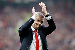 Manchester United caretaker manager Ole Gunnar Solskjaer applauds the fans at the end of the Premier League match at Old Trafford, Manchester.