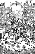 King Arthur, under the protection of the Virgin Mary, fights a giant.  Woodcut from 'Chroniques de Bretagne' Paris 1514