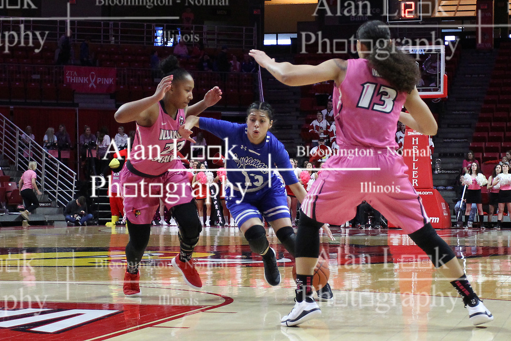 NORMAL, IL - February 10: Alexis Delgado heads for the lane getting doubled on by Viria Livingston and Katrina Beck during a college women's basketball Play4Kay game between the ISU Redbirds and the Indiana State Sycamores on February 10 2019 at Redbird Arena in Normal, IL. (Photo by Alan Look)