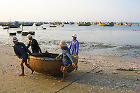 "Vietnamese basket boats are used as ferries to go out to the main fishing boats and back to shore.  These baskets are also sometimes used for artfully displaying ""catch of the day"" at seafood restaurants once they have retired from service as boats."