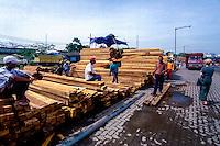 Indonesia, Java, Jakarta. Sunda Kelapa, the old harbor. Timber transport.