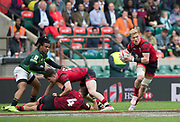 """Twickenham, Surrey United Kingdom. Wales, Sam CROSS, moves away from the breakdown, during the Pool A game, Soth Afica vs Wales at the<br /> """"2017 HSBC London Rugby Sevens"""",  Saturday 20/05/2017 RFU. Twickenham Stadium, England    <br /> <br /> [Mandatory Credit Peter SPURRIER/Intersport Images]"""