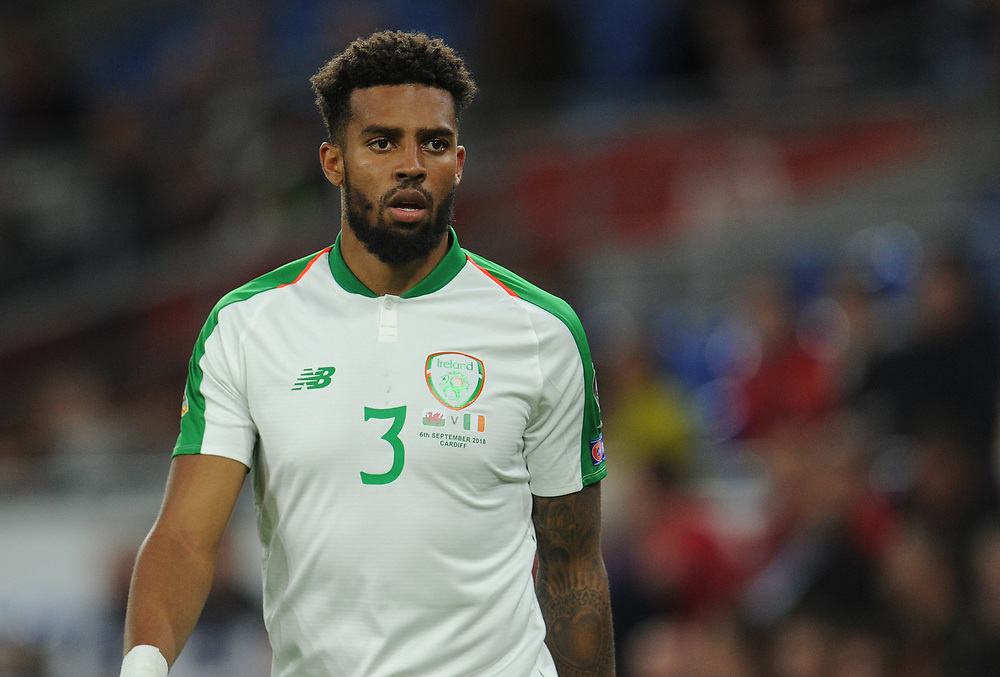 Republic of Ireland's Cyrus Christie <br /> <br /> Photographer Kevin Barnes/CameraSport<br /> <br /> UEFA Nations League - Group Stage - League B - Group 4 - Wales v Republic of Ireland - Thursday September 6th 2018 - Cardiff City Stadium - Cardiff<br /> <br /> World Copyright © 2018 CameraSport. All rights reserved. 43 Linden Ave. Countesthorpe. Leicester. England. LE8 5PG - Tel: +44 (0) 116 277 4147 - admin@camerasport.com - www.camerasport.com