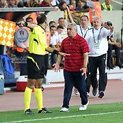 Mersin Idman Yurdu coach Rıza Calimbay (C) during their Turkish Superleague soccer match Mersin Idman Yurdu between Galatasaray at the Mersin stadium in Mersin Turkey on Sunday 12 May 2015. Photo by Aykut AKICI/TURKPIX