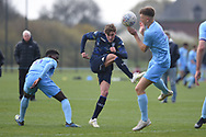 Leeds United forward Niklas Haughland shoots at goal during the U18 Professional Development League match between Coventry City and Leeds United at Alan Higgins Centre, Coventry, United Kingdom on 13 April 2019.