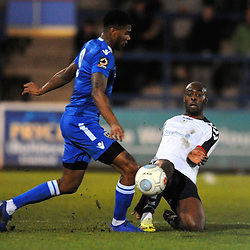 TELFORD COPYRIGHT MIKE SHERIDAN 12/2/2019 - Theo Streete of AFC Telford battles for the ball with Rowan Liburd during the Vanarama Conference North fixture between AFC Telford United and Guiseley at the New Bucks Head.