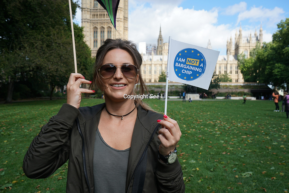 London, UK, 13th September 2017. Photocall: Citizens groups the3million and British in Europe in partnership with Another Europe is Possible (Global Justice Now), European Alternatives, Migrants Rights Network and UNISON are organising A DAY OF ACTION at the Victoria Tower Garden.