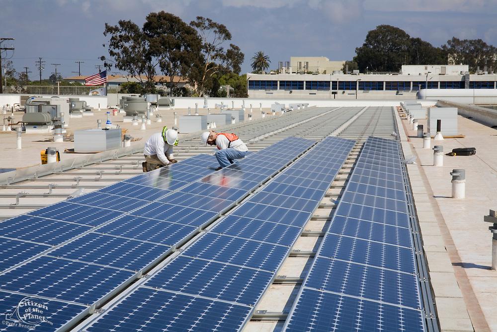Installaion of Grid-tied solar array on roof of Big Blue Bus facilites, Installation by Martifer Solar USA, Santa Monica, California, USA