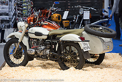 Ural Motorcycle with sidecar. Custom and Tuning Show in the Motor Spring show, Moscow, Russia Friday April 21, 2017. Photography ©2017 Michael Lichter.