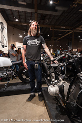 Wes Burden with his Apex Cycle Shop custom 1954 BMW R51/3 named Kanderis at the Handbuilt Show. Austin, TX. USA. Saturday April 21, 2018. Photography ©2018 Michael Lichter.