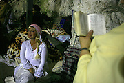 Israel, Mount Meron, The Hillula (a celebration day) for Rabbi Simeon bar Yohai at Lag Baomer in Meron mountain, near Tzefat, the burial place of Rabbi Simeon bar Yochai and his son, Rabbi Eleazar ben Simon. hundred of thousands of people come each year to celebrate with lighting fires, candles, singing and feasting. On May 22, 2008.