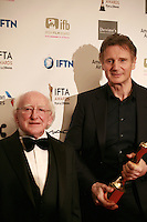 Actor Liam Neeson and <br /> The President of Ireland, Michael D Higgins at the IFTA Film & Drama Awards (The Irish Film & Television Academy) at the Mansion House in Dublin, Ireland, Saturday 9th April 2016. Photographer: Doreen Kennedy