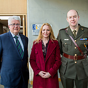 24.03.2017            <br /> Limerick Civic Trust, Marjorie Daly commissioned Jim Kemmy Portrait unveiling by Jan O'Sullivan TD at the Kemmy Business School, University of Limerick. <br /> <br /> Pictured at the event were, Thomas Hannon, Cllr. Elena Secas and Comdt. Ian O'Brien Picture: Alan Place