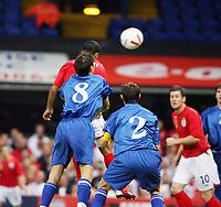 Photo: Chris Ratcliffe.<br /> England U21 v Moldova U21. European Championship Qualifier. 15/08/2006.<br /> Theo Walcott of England U21 scores with this header to make it 1-0.