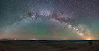 At 1:30AM the milky way was rising and formed a giant arch in the sky. Airglow turned parts of the sky green. I needed a 7-shot panorama (with plenty of overlap) to capture it all.