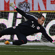 Luis Robles, the New York Red Bulls goalkeeper, warming up before the New York Red Bulls V New England Revolution, Major League Soccer regular season match at Red Bull Arena, Harrison, New Jersey. USA. 20th April 2013. Photo Tim Clayton