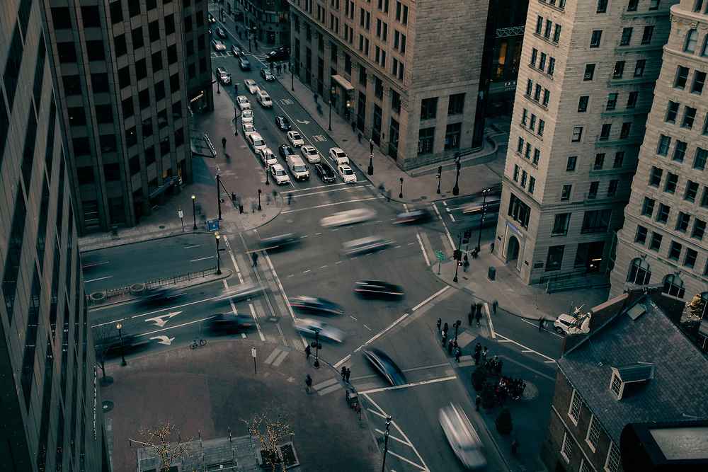 Downtown Boston traffic along State Street seen from Suffolk Universities One Court Street residence hall.