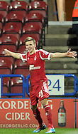 Jamie Paterson of Nottingham Forest celebrates his goal during the Sky Bet Championship match at the John Smiths Stadium, Huddersfield<br /> Picture by Graham Crowther/Focus Images Ltd +44 7763 140036<br /> 11/02/2014