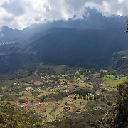 Village of Cirque de Mafate as seen from Col du Taibit Pass. This small French village is only accessible by foot or by helicopter