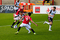 Football - 2020 / 2021 Sky Bet League Two - Morecambe vs. Bolton Wanderers<br /> <br /> Antoni Sarcevic of Bolton Wanderers goes past Nat Knight-Percival of Morecambe in midfield, at the Mazuma Stadium.<br /> <br /> COLORSPORT/ALAN MARTIN