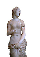 The Roman Venus Statue, the Goddess of Love, follows the style of a modest Aphrodite, known by other Roman replicas are copies of The third century BC Hellenistic Greek statues now lost. Dated circa 1st quarter of second century AD, the Venus statue was excavated from the Odeon of Carthage. The National Bardo Museum, Tunis.  Against a white background. .<br /> <br /> If you prefer to buy from our ALAMY STOCK LIBRARY page at https://www.alamy.com/portfolio/paul-williams-funkystock/greco-roman-sculptures.html . Type -    BARDO    - into LOWER SEARCH WITHIN GALLERY box - Refine search by adding a subject, place, background colour, museum etc.<br /> <br /> Visit our CLASSICAL WORLD HISTORIC SITES PHOTO COLLECTIONS for more photos to download or buy as wall art prints https://funkystock.photoshelter.com/gallery-collection/The-Romans-Art-Artefacts-Antiquities-Historic-Sites-Pictures-Images/C0000r2uLJJo9_s0c
