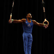 John Orozco, Colorado Springs, Colorado, in action on the Still Rings during the Senior Men Competition at The 2013 P&G Gymnastics Championships, USA Gymnastics' National Championships at the XL, Centre, Hartford, Connecticut, USA. 16th August 2013. Photo Tim Clayton