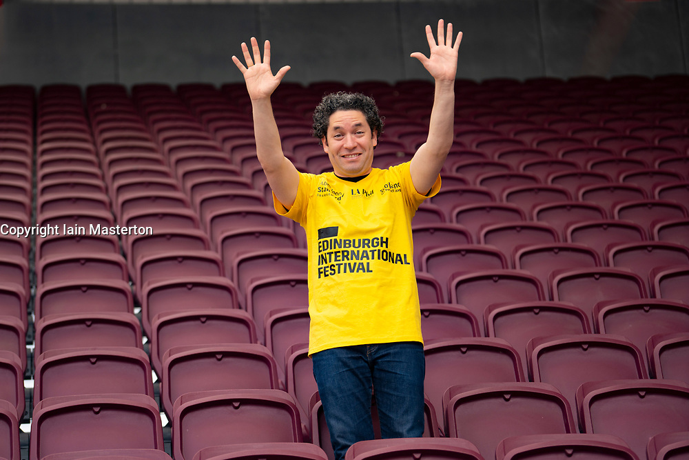 Edinburgh, Scotland, UK. 2 August 2019. Conductor Gustavo Dudamel at Tynecastle Stadium in Edinburgh to conduct the LA Philharmonic Orchestra at the Aberdeen Standard Investments opening Event of the Edinburgh International Festival. Iain Masterton/Alamy Live News ++ Editorial Use Only ++