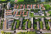 Nederland, Zuid-Holland, Rotterdam, 15-07-2012; Pendrecht (deelgemeente Charlois, Rotterdam-Zuid). Detail noordelijk deel..Nieuwbouwwijk uit de jaren vijftig van de vorige eeuw, wederopbouw periode. Stedenbouwkundig ontwerp van Lotte Stam-Beese, kenmerkend zijn de ruime opzet en  veel groen. Ontworpen als wijk met verschillende woningtypen (en verschillende bewoners) en voorzien van alle voorzieningen..Pendrecht (part of Charlois, Rotterdam-South). New neighborhood (fifties of the last century), post-war reconstruction period. Urban design of Lotte Stam-Beese, characterized by spacious layout and lots of green. Designed as residential district with different housing types.. .QQQ.luchtfoto (toeslag), aerial photo (additional fee required).foto/photo Siebe Swart